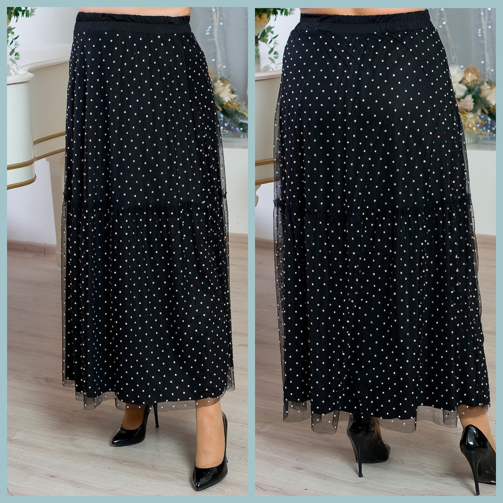 Роскошная женская юбка в пол из сетки с мерцающими кристаллами  батал с 48 по 82 размер