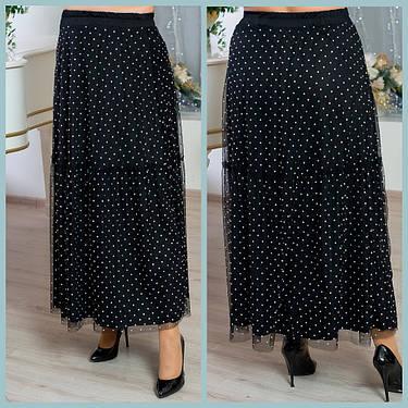 Роскошная женская юбка в пол из сетки с мерцающими кристаллами  батал с 48 по 82 размер, фото 2