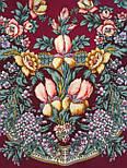 Белой ночи кружевные сны 1844-7, павлопосадский платок шерстяной  с шелковой бахромой, фото 3