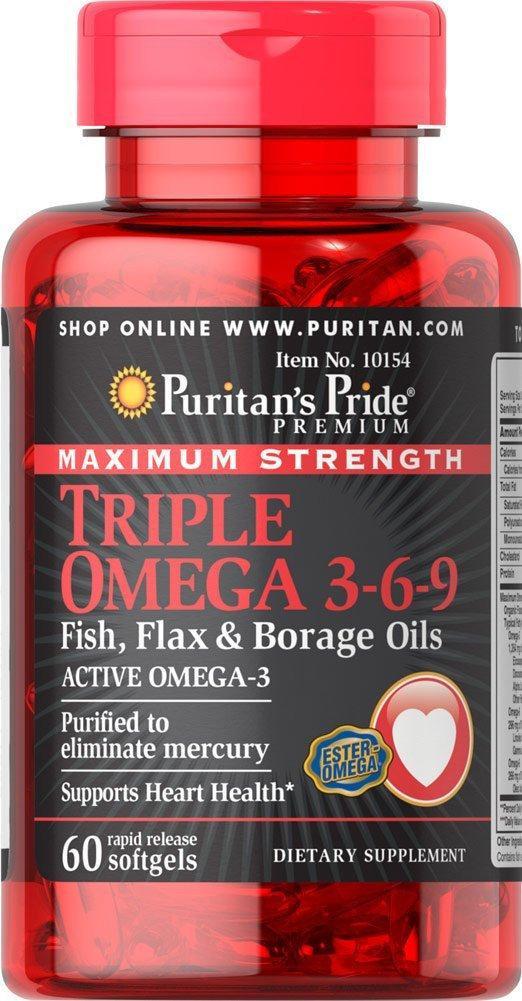 Triple Omega 3-6-9 maximum strength (60 softgels) жирные кислоты Puritan's Pride