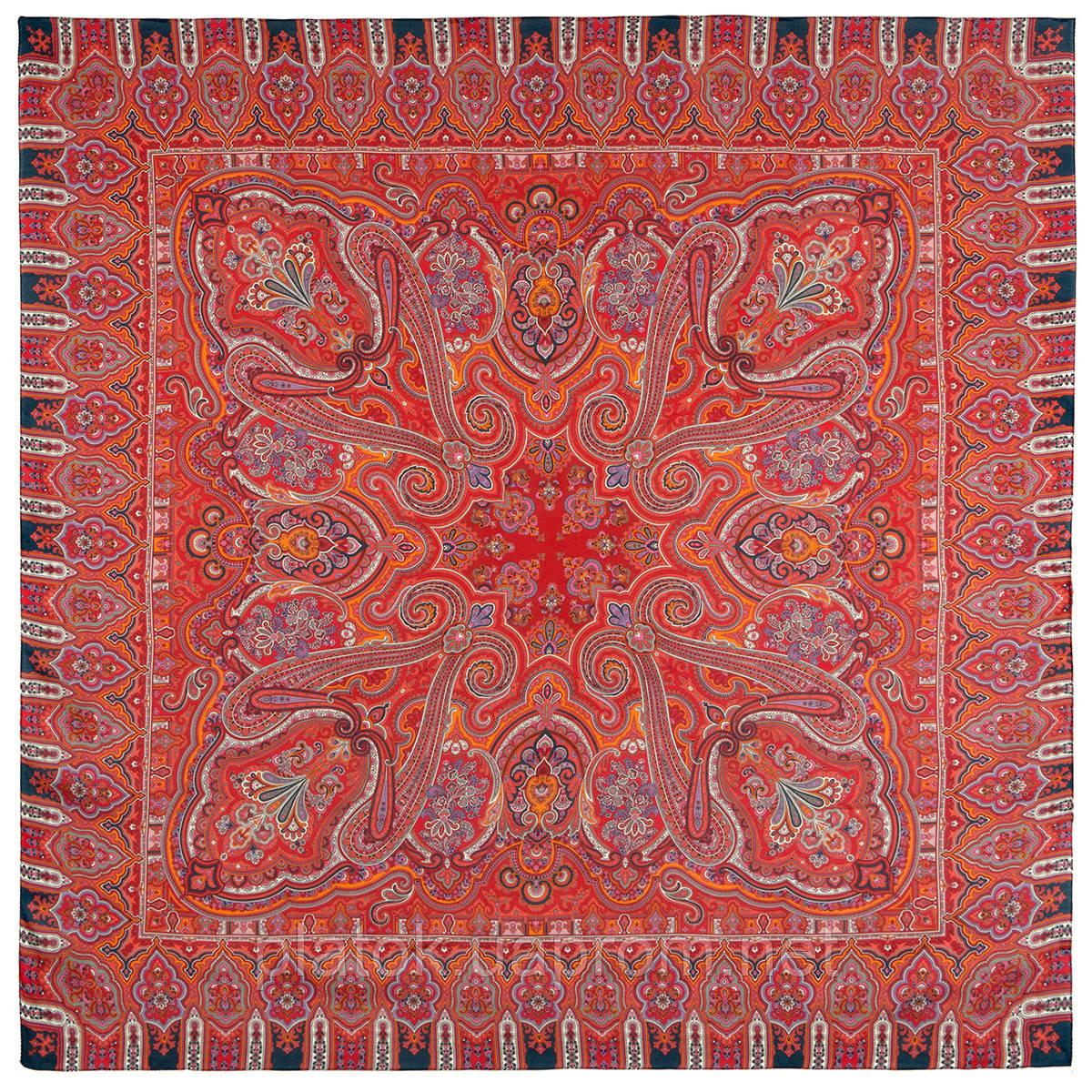 Фергана 1856-5, павлопосадский платок из вискозы с подрубкой