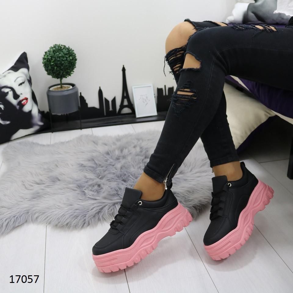 Женские матовые черные кроссовки на массивной розовой подошве в стиле buffalo буффало