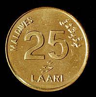 Монета Мальдив 25 лари 2008 г.