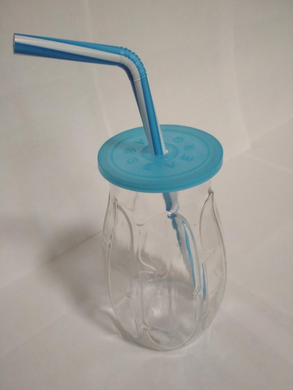 Стакан банка стеклянный для коктейлей 500 мл с синей пластиковой крышкой и трубочкой Banana UniGlass