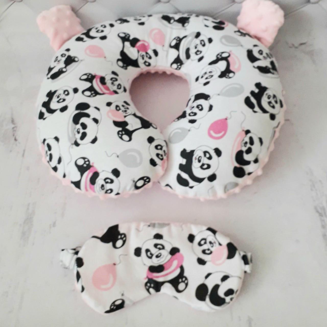 Набор подушка для путешествий + маска для сна Панда