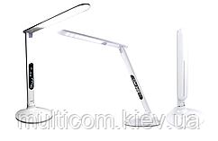 14-10-003. Настольная LED лампа Lux с дисплеем, белая, SP115