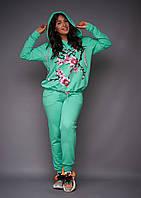 Женский спортивный костюм с аппликацией большого размера для спорта и активного отдыха.Размеры:48-62.+Цвета