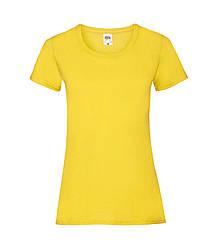 Женская футболка однотонная ярко-желтая 372-К2