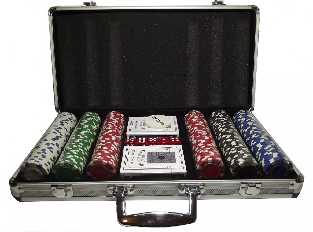 Набор для покера 300 фишек в металлическом кейсе