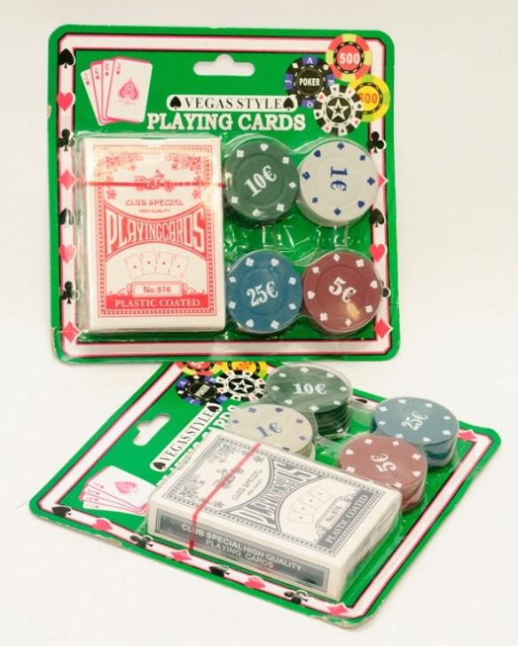 Набор для покера пластиковые карты и фишки