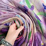 Палантин шерстяной 10756-15, павлопосадский шарф-палантин шерстяной (разреженная шерсть) с осыпкой, фото 5