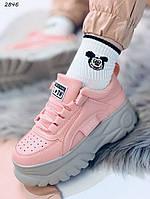 Кроссовки женские розовые на серой подошве 2846, фото 1