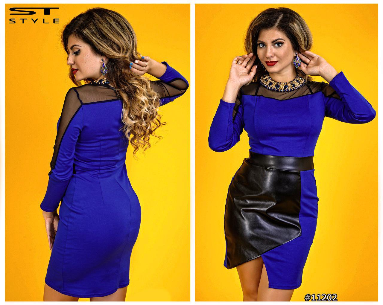 Платье больших размеров, отделка сетка и эко-кожа арт 2372/509-41
