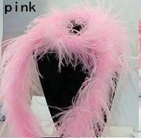 Боа из перьев страуса однониточное. 2метра. Нежно розовый.