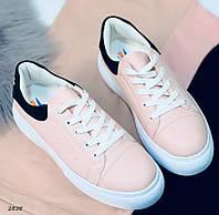 Кроссовки женские розовые+черная пяточка 2836, фото 1