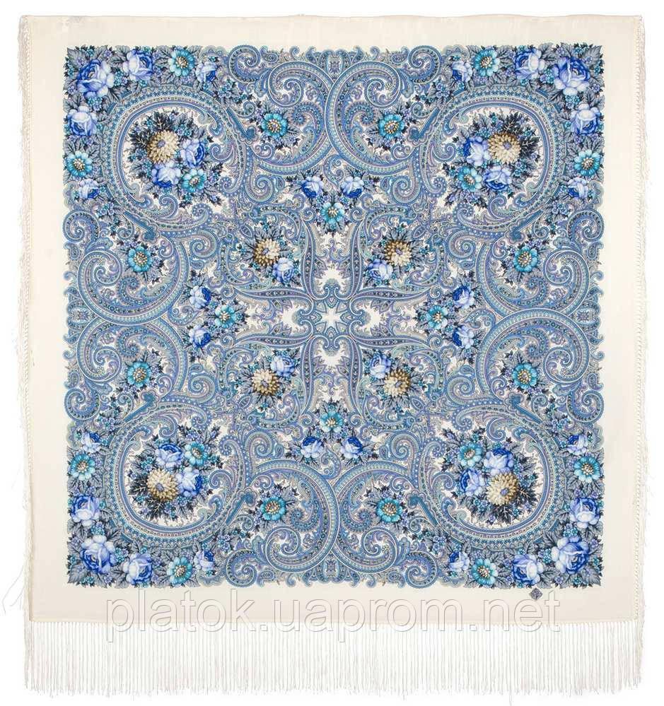 Золотой невод 1877-1, павлопосадский платок шерстяной (двуниточная шерсть) с шелковой бахромой