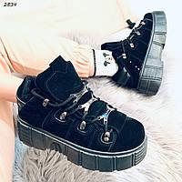Кроссовки женские черные высокие 2834, фото 1