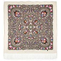Золотой невод 1877-2, павлопосадский платок шерстяной (двуниточная шерсть) с шелковой бахромой
