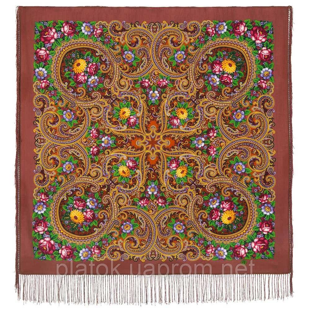 Золотой невод 1877-16, павлопосадский платок шерстяной (двуниточная шерсть) с шелковой бахромой