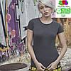 Женская футболка хлопок темно-серая 414-GL, фото 4