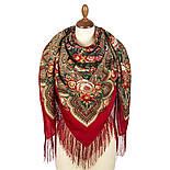 Подарок с ярмарки 1858-5, павлопосадский платок шерстяной  с шелковой бахромой, фото 2