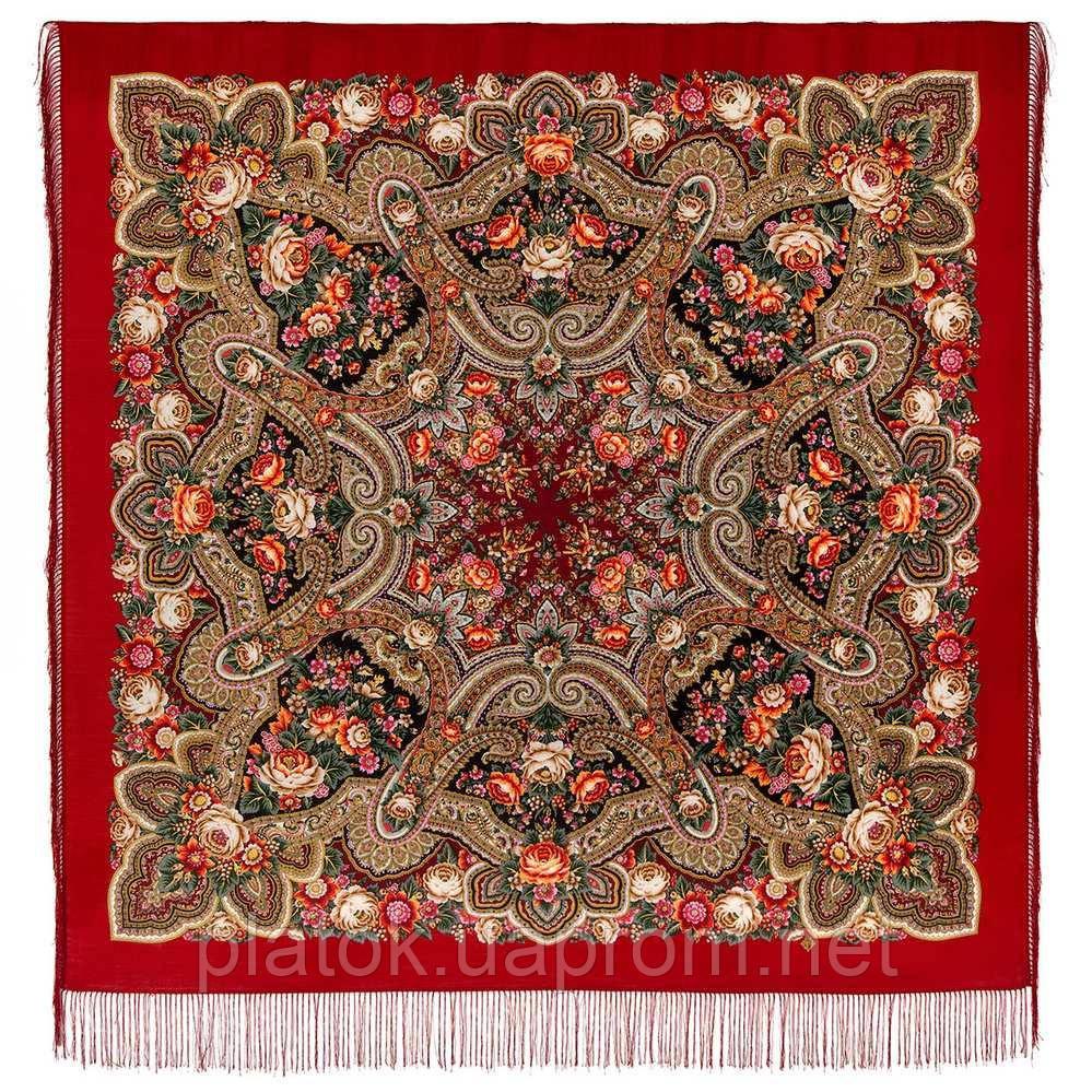 Подарок с ярмарки 1858-5, павлопосадский платок шерстяной  с шелковой бахромой
