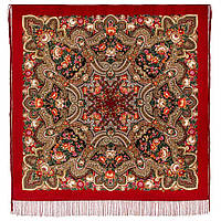Подарок с ярмарки 1858-5, павлопосадский платок шерстяной  с шелковой бахромой, фото 1