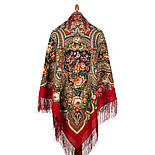 Подарок с ярмарки 1858-5, павлопосадский платок шерстяной  с шелковой бахромой, фото 3