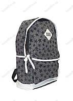 Оптом рюкзак школьный/городской из мешковины - Звездочки - Серый - 602