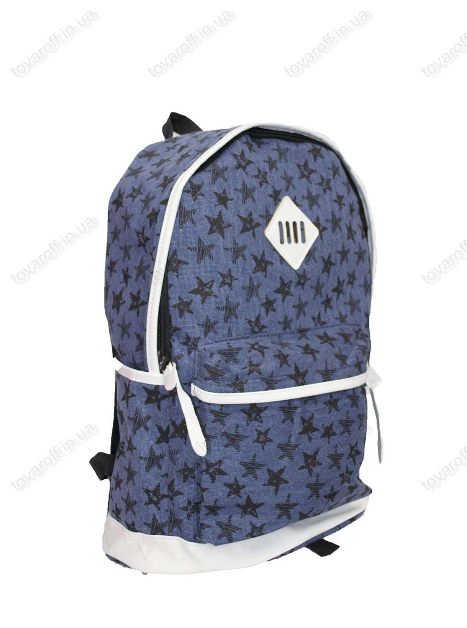 Оптом рюкзак школьный/городской из мешковины - Звездочки - Синий - 602