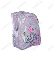 Оптом рюкзак школьный/городской для девочки из плащевки - Бабочка - Серый - 003