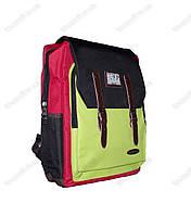 Оптом рюкзак школьный/спортивный цветной - Черно-красно-салатовый - 988