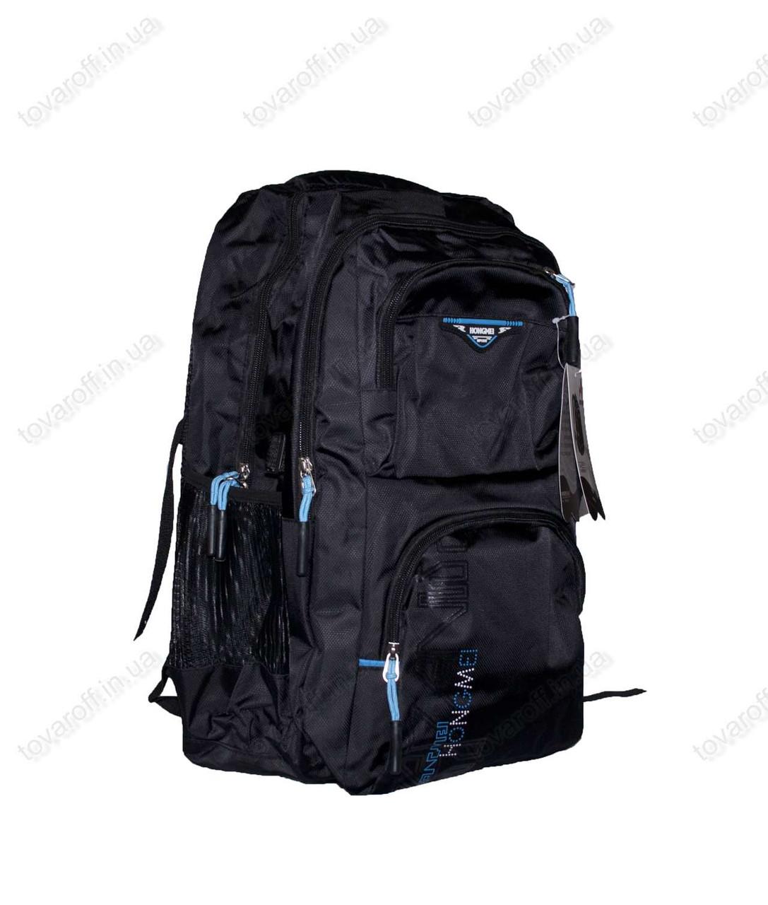Оптом рюкзак школьный/спортивный - Черно-голубой - 8008