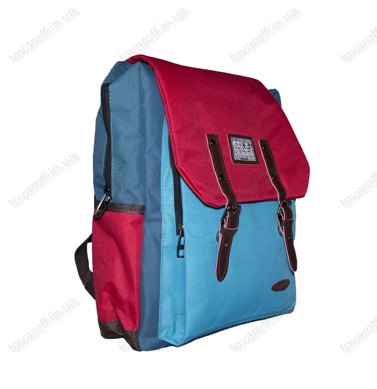 Оптом рюкзак шкільний/спортивний кольоровий - Червоно-блакитний - 988