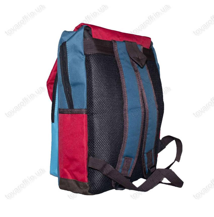 Оптом рюкзак шкільний/спортивний кольоровий - Червоно-блакитний - 988, фото 2