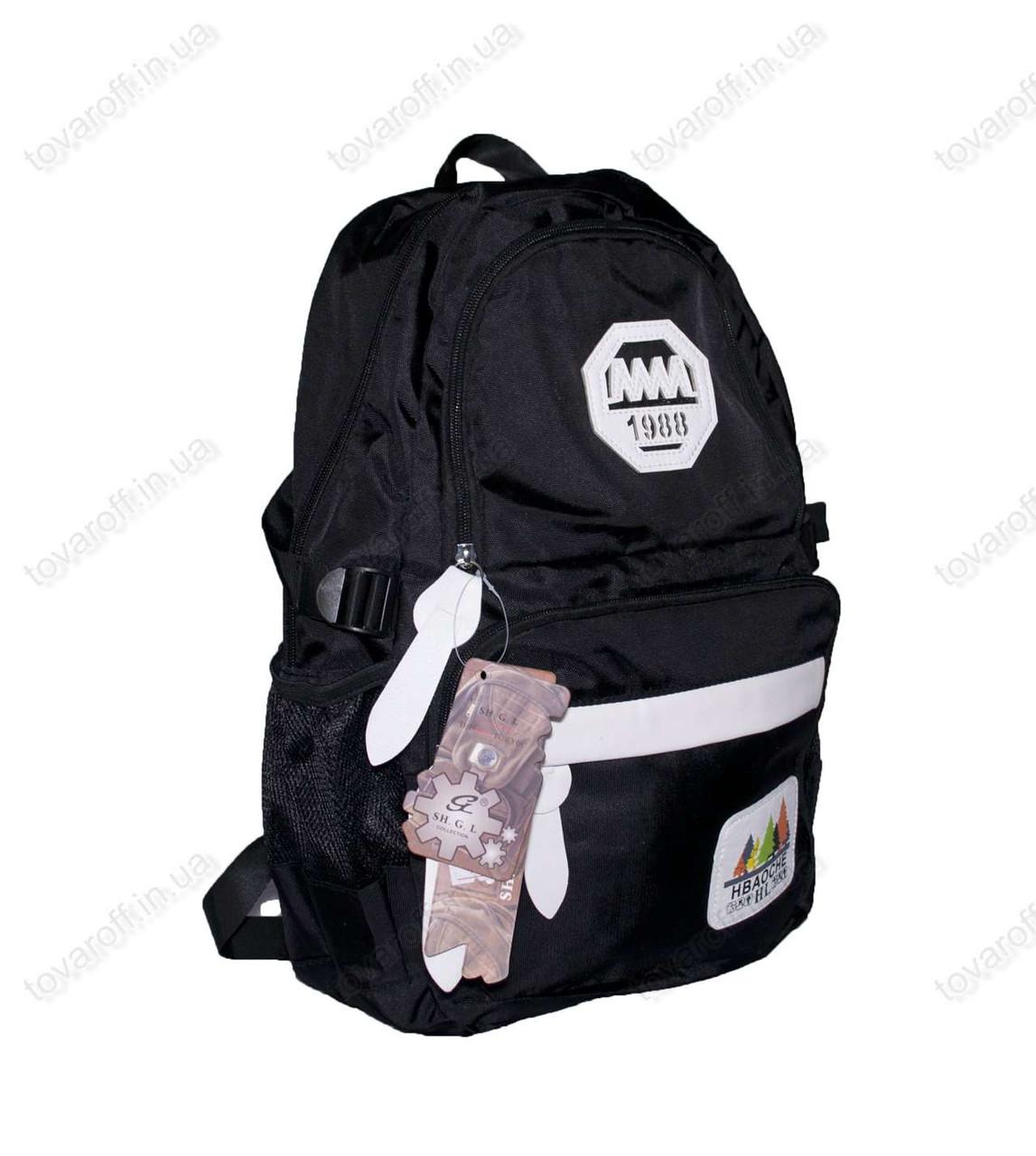 Оптом рюкзак школьный/спортивный - Черный - 901
