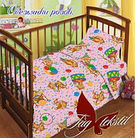 ✅  Комплект детского постельного белья Обезьянки роз.