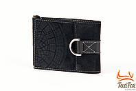 Зажим для денег черного цвета с ажурным узором ( натуральная кожа )