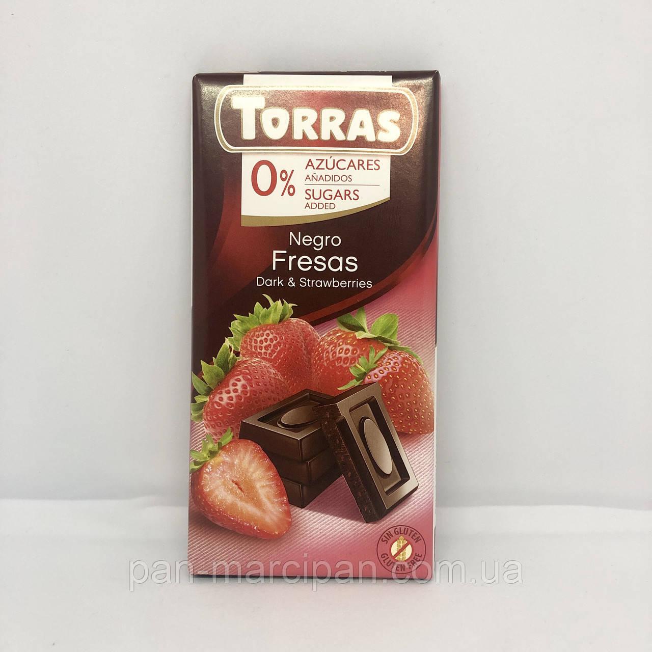 Шоколад Torras темний з полуницею Іспанія 75г