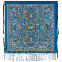 Таинственный вечер 1539-12, павлопосадский платок (шаль) из уплотненной шерсти с шелковой вязаной бахромой