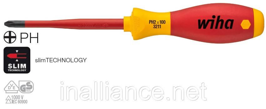 Отвертка PH1 х 80 мм electric slimFix SoftFinish Wiha 35393