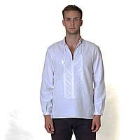 Мужская вышиванка Звездное сияние. Белое по белому.