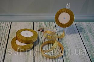 Лента парча, 15мм (22метра), цвет - желтый