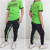 Сучасні спортивні штани від VVK_PRO_SPORТ Чорний/зелений від 134 до 164 розміру 90% бавовна, фото 1