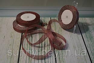 Лента парча, 15мм (22метра), цвет - бордовый