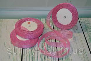 Лента парча, 15мм (22метра), цвет - розовый