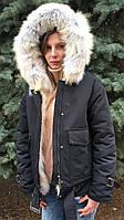 Зимова жіноча парку хутряний капюшон, фото 1