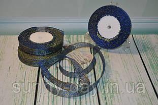 Лента парча, 15мм (22метра), цвет - синий