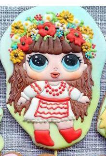 Трафарет + формочка-вырубка для пряников Кукла Лол - Украинка