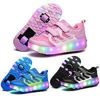 Роликовые светящиеся кроссовки, Usb зарядка, детские и подростковые, премиум качество.